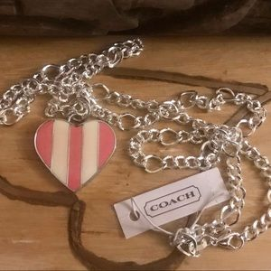 Coach Pink White Heart .925 Sterling Necklace